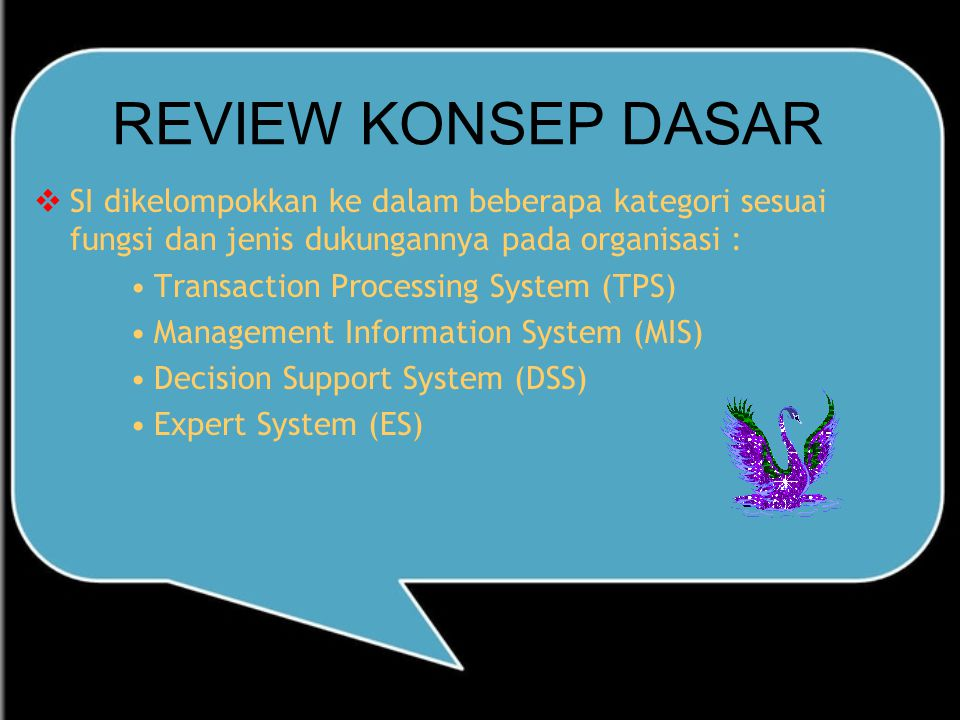 REVIEW KONSEP DASAR SI dikelompokkan ke dalam beberapa kategori sesuai fungsi dan jenis dukungannya pada organisasi :