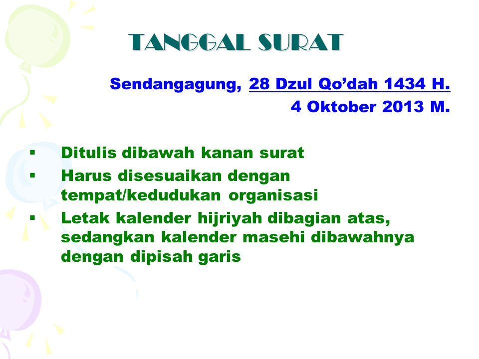 TANGGAL SURAT Sendangagung, 28 Dzul Qo'dah 1434 H. 4 Oktober 2013 M.