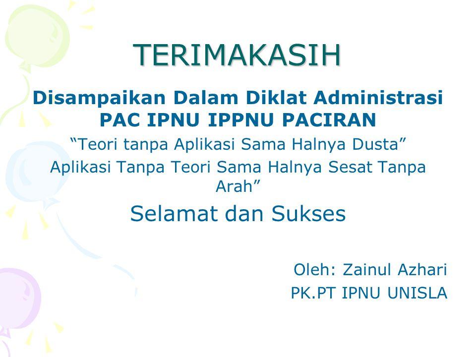 Disampaikan Dalam Diklat Administrasi PAC IPNU IPPNU PACIRAN