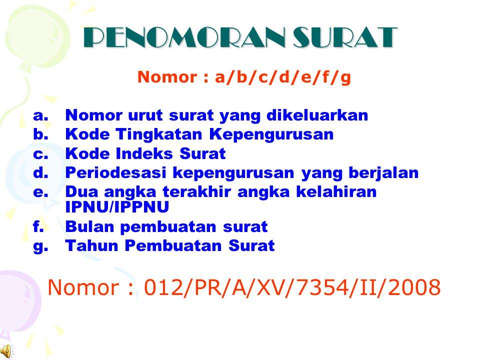 PENOMORAN SURAT Nomor : 012/PR/A/XV/7354/II/2008 Nomor : a/b/c/d/e/f/g