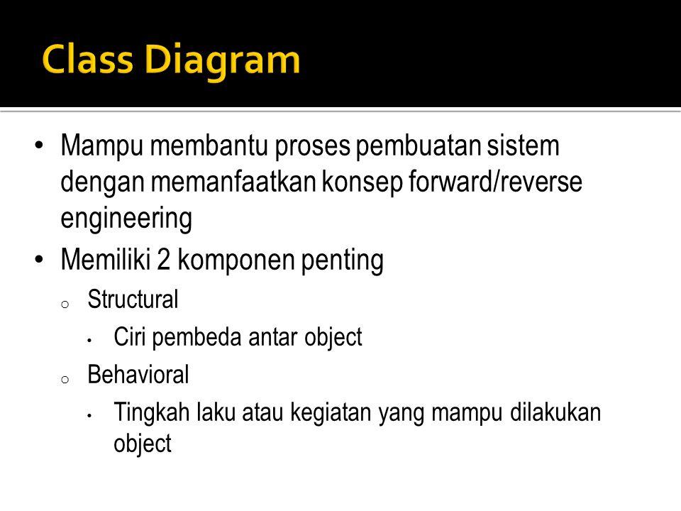 Class Diagram Mampu membantu proses pembuatan sistem dengan memanfaatkan konsep forward/reverse engineering.