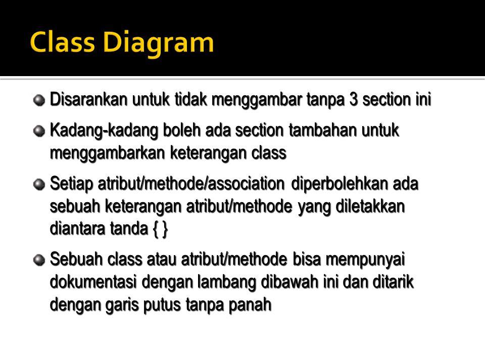 Class Diagram Disarankan untuk tidak menggambar tanpa 3 section ini