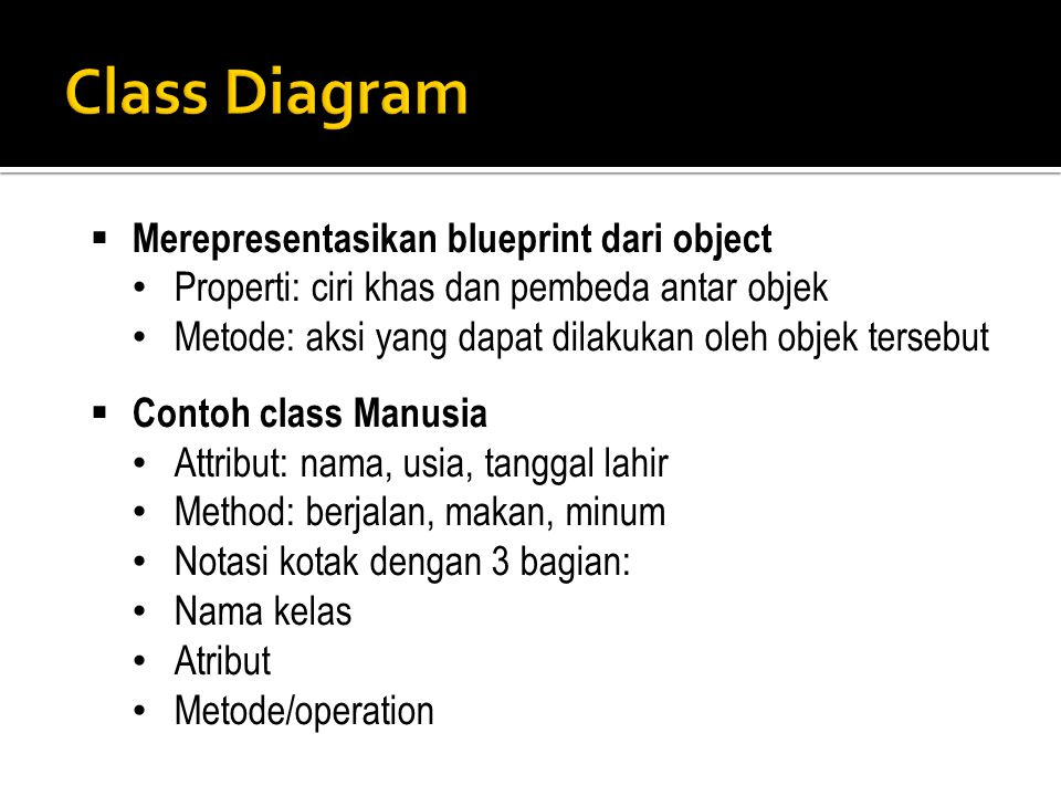 Class Diagram Merepresentasikan blueprint dari object