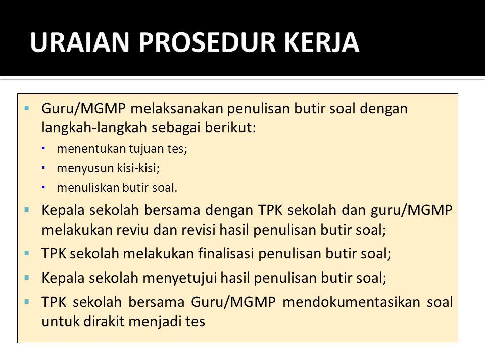 URAIAN PROSEDUR KERJA Guru/MGMP melaksanakan penulisan butir soal dengan langkah-langkah sebagai berikut:
