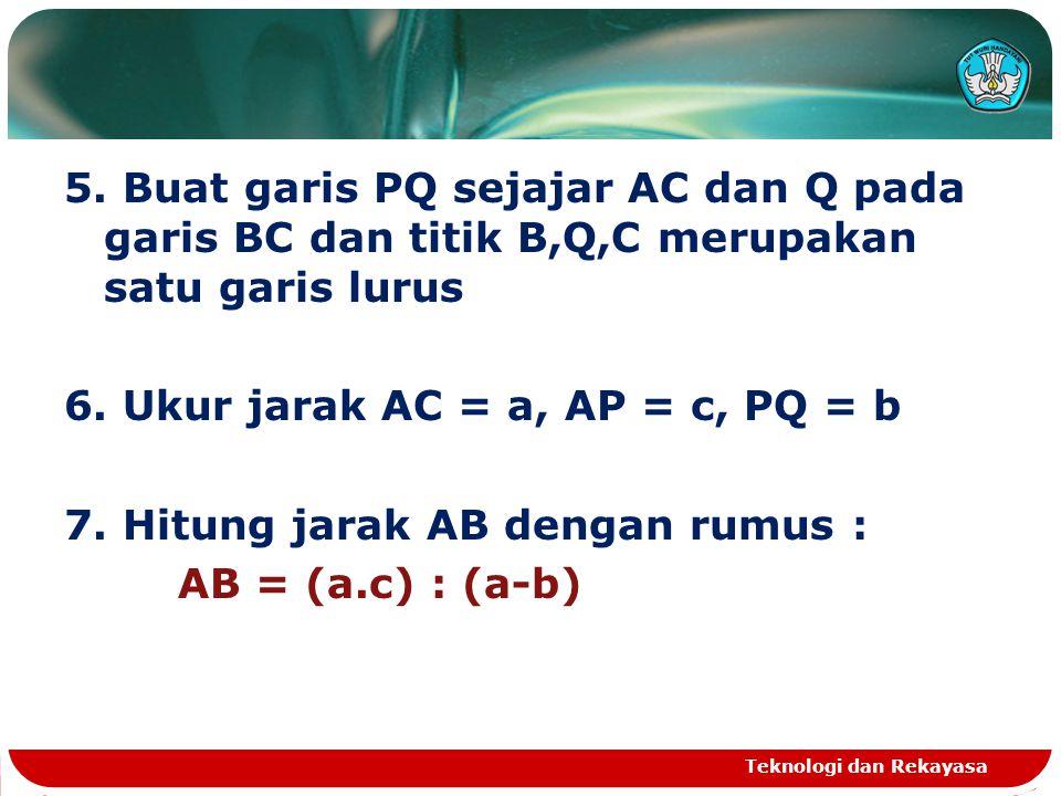 5. Buat garis PQ sejajar AC dan Q pada garis BC dan titik B,Q,C merupakan satu garis lurus 6. Ukur jarak AC = a, AP = c, PQ = b 7. Hitung jarak AB dengan rumus : AB = (a.c) : (a-b)