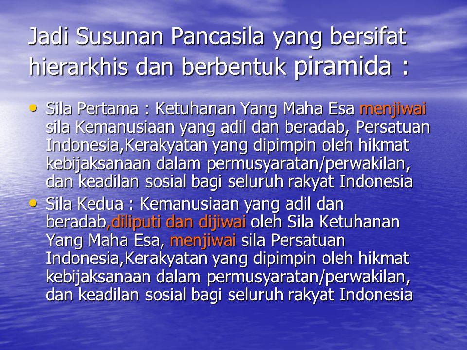 Jadi Susunan Pancasila yang bersifat hierarkhis dan berbentuk piramida :