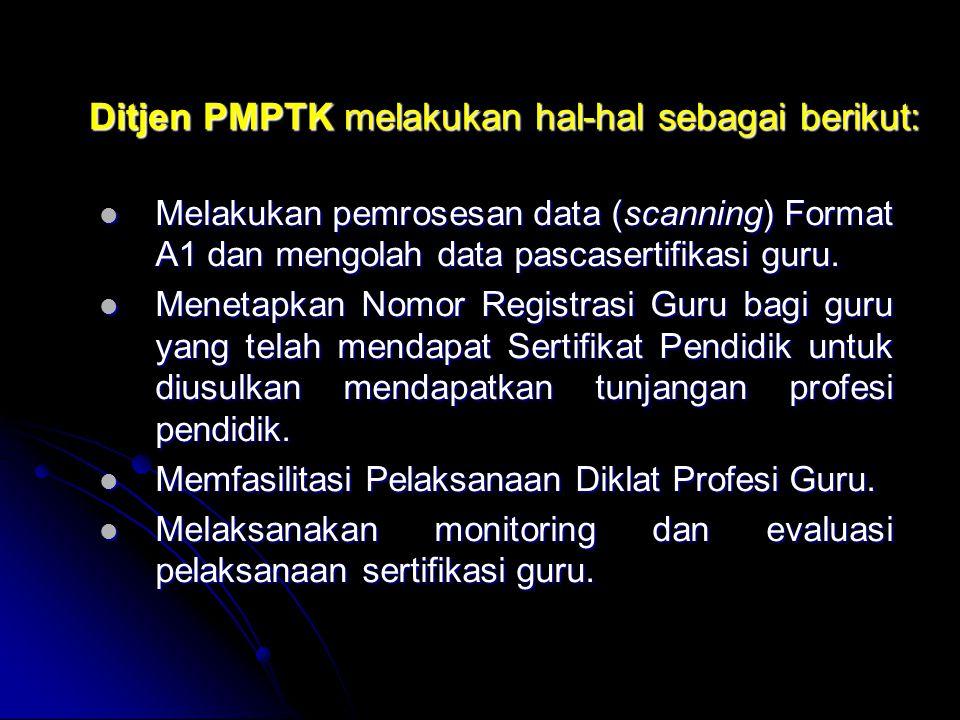 Ditjen PMPTK melakukan hal-hal sebagai berikut: