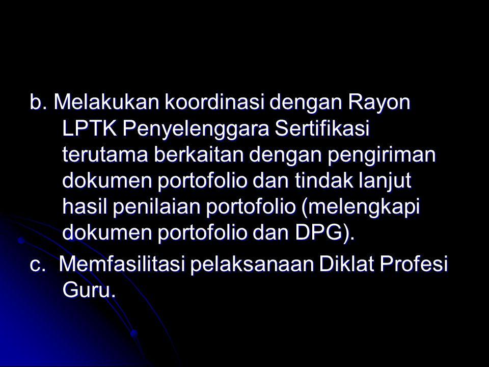 b. Melakukan koordinasi dengan Rayon LPTK Penyelenggara Sertifikasi terutama berkaitan dengan pengiriman dokumen portofolio dan tindak lanjut hasil penilaian portofolio (melengkapi dokumen portofolio dan DPG).