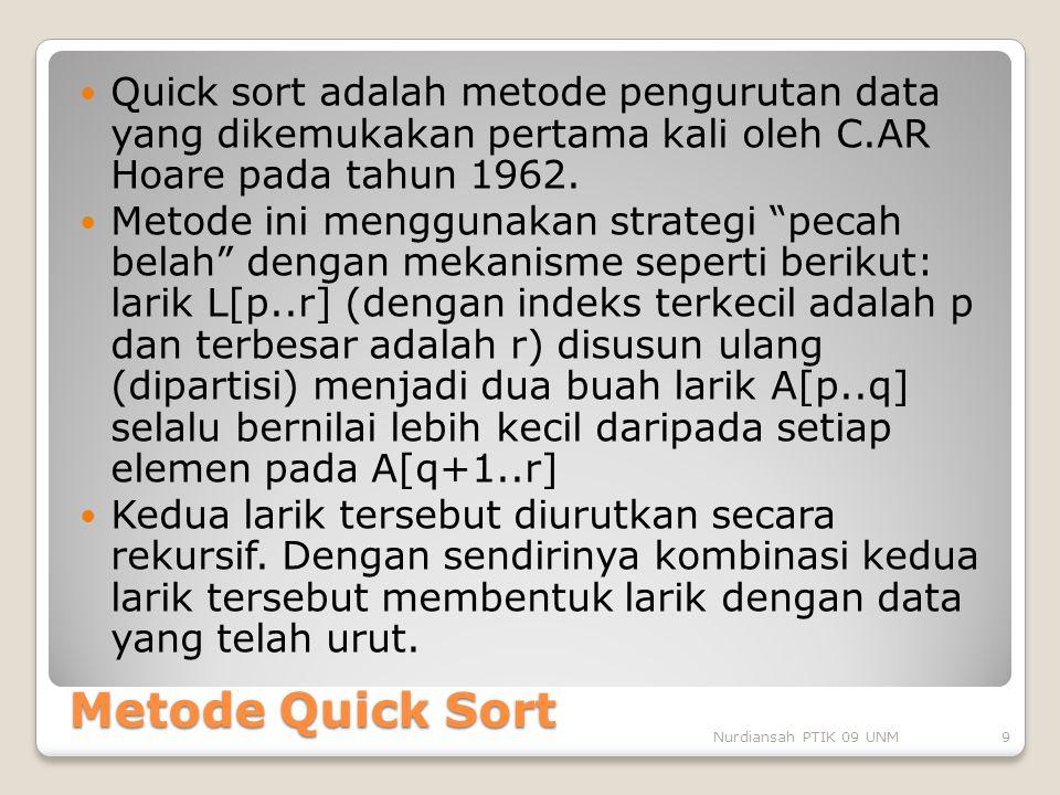 Quick sort adalah metode pengurutan data yang dikemukakan pertama kali oleh C.AR Hoare pada tahun 1962.