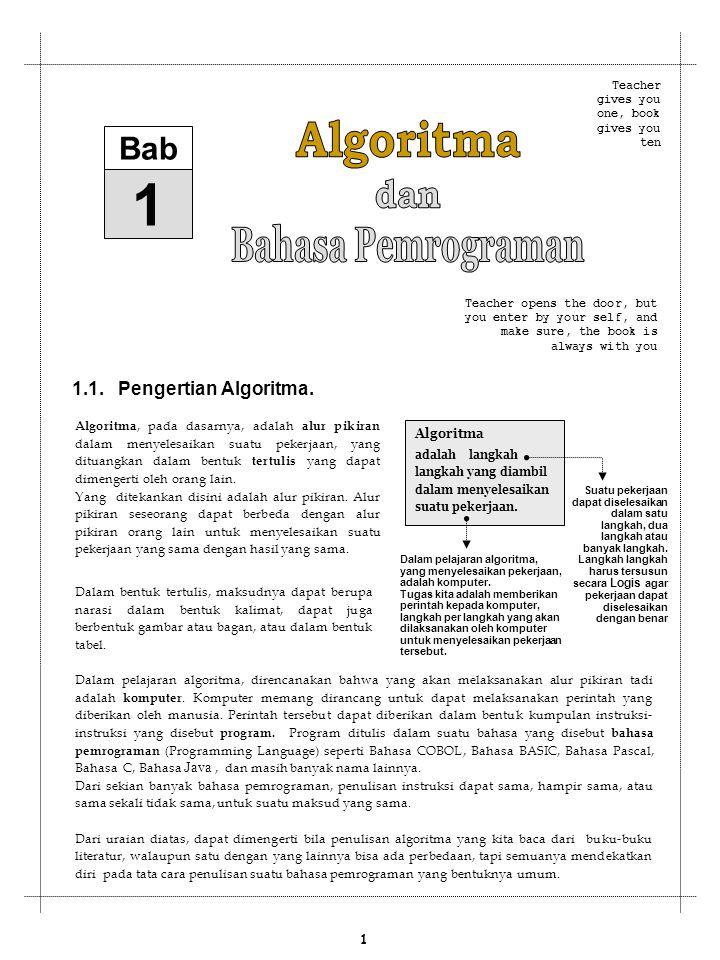 1 Algoritma Bahasa Pemrograman dan Bab 1.1. Pengertian Algoritma.
