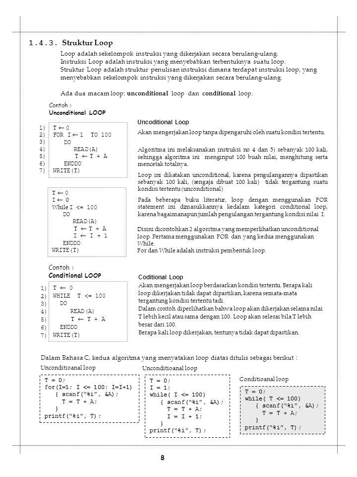 1.4.3. Struktur Loop Loop adalah sekelompok instruksi yang dikerjakan secara berulang-ulang.