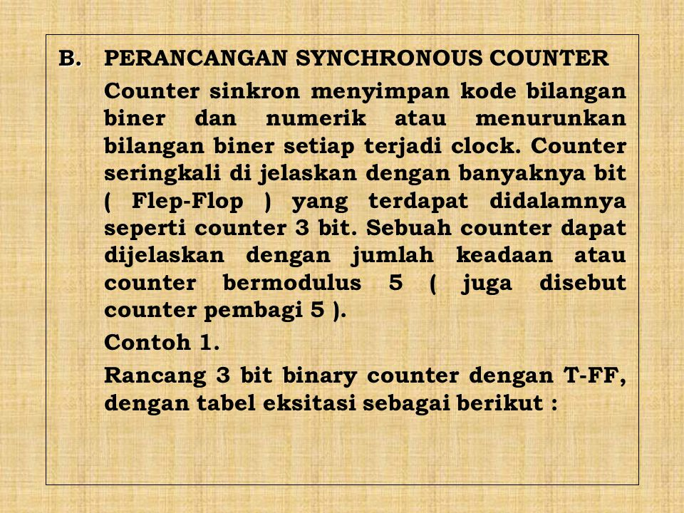B. PERANCANGAN SYNCHRONOUS COUNTER