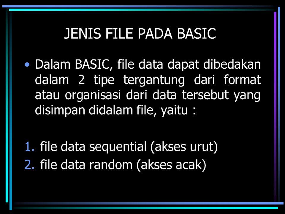 JENIS FILE PADA BASIC