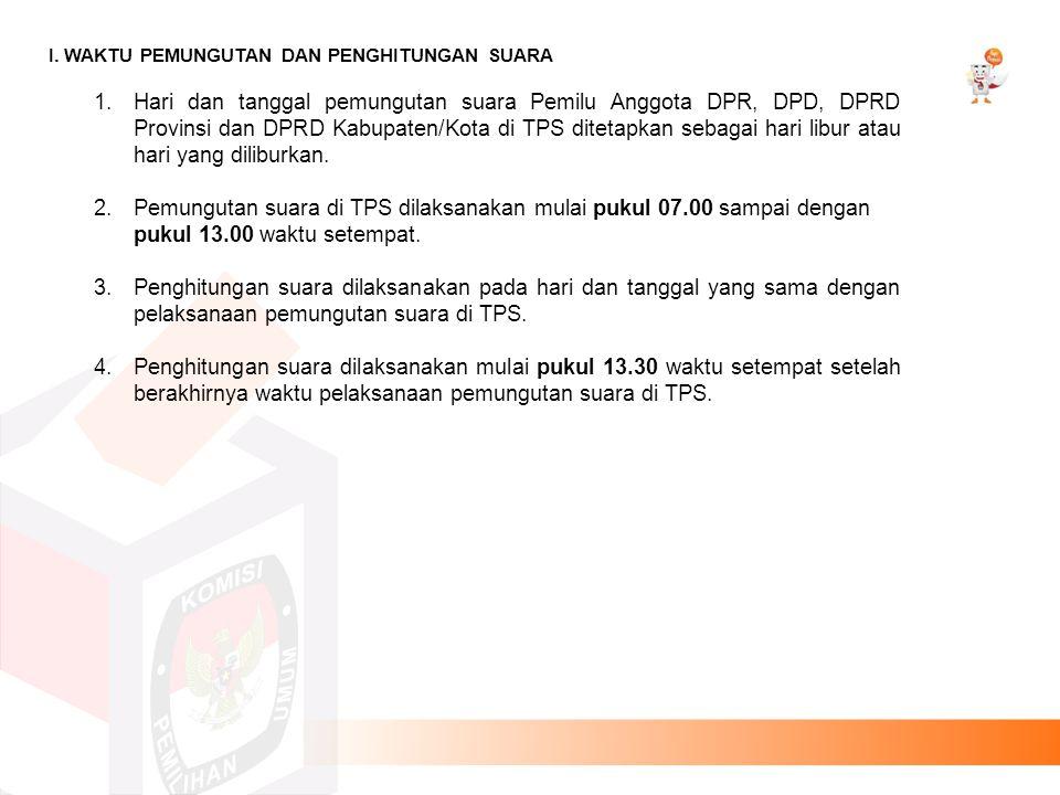 Pemungutan suara di TPS dilaksanakan mulai pukul 07.00 sampai dengan