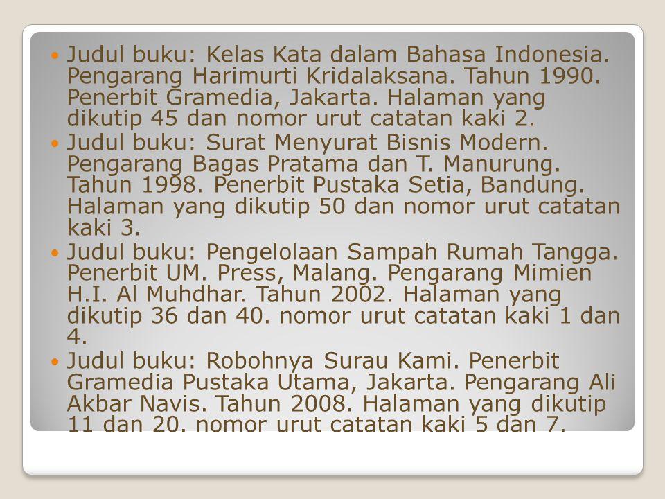Judul buku: Kelas Kata dalam Bahasa Indonesia