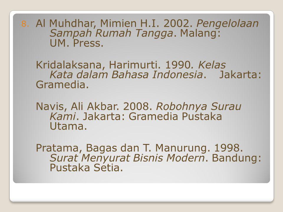 Al Muhdhar, Mimien H. I. 2002. Pengelolaan. Sampah Rumah Tangga