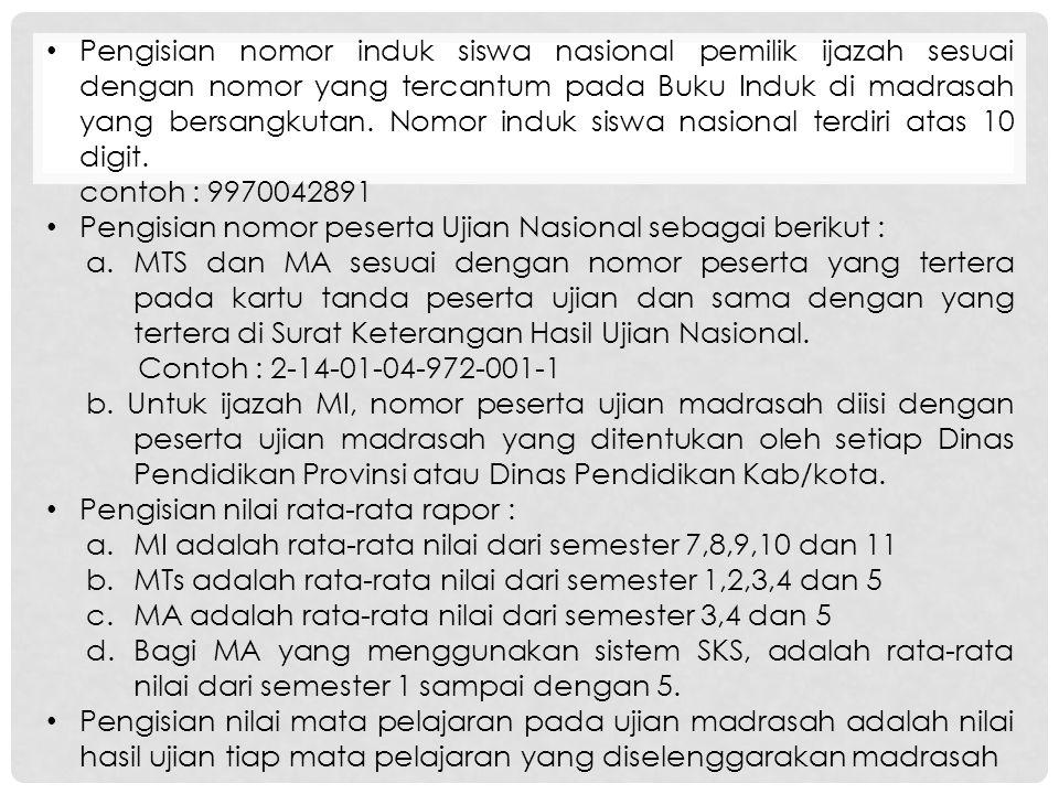 Pengisian nomor induk siswa nasional pemilik ijazah sesuai dengan nomor yang tercantum pada Buku Induk di madrasah yang bersangkutan. Nomor induk siswa nasional terdiri atas 10 digit.