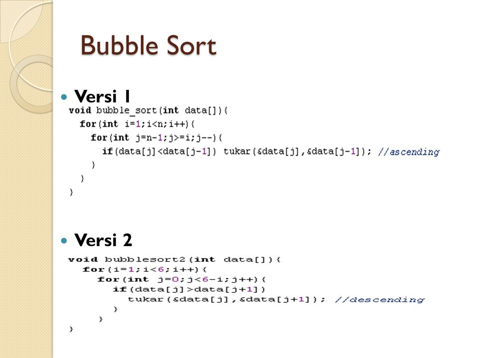 Bubble Sort Versi 1 Versi 2