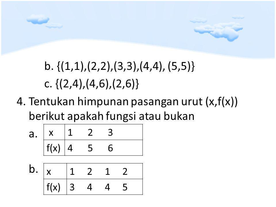 b. {(1,1),(2,2),(3,3),(4,4), (5,5)} c. {(2,4),(4,6),(2,6)} 4