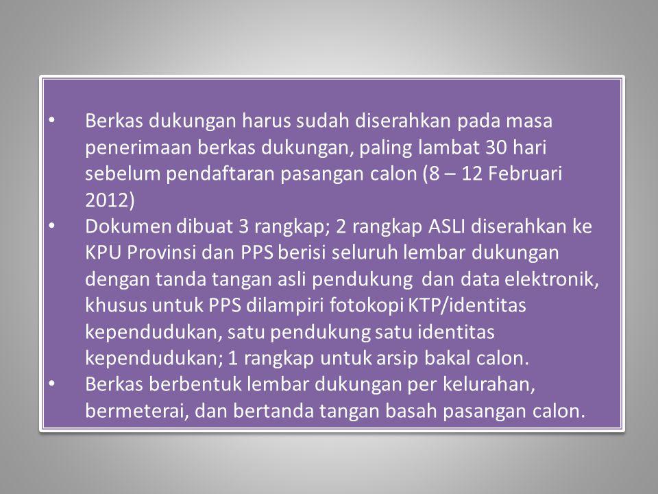 Berkas dukungan harus sudah diserahkan pada masa penerimaan berkas dukungan, paling lambat 30 hari sebelum pendaftaran pasangan calon (8 – 12 Februari 2012)