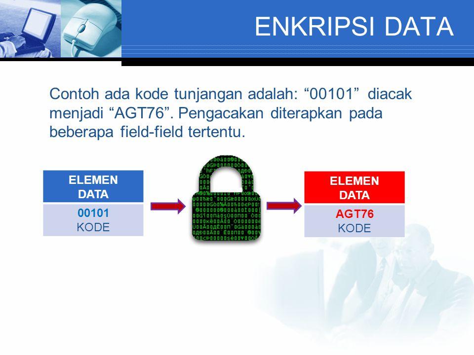 ENKRIPSI DATA Contoh ada kode tunjangan adalah: 00101 diacak menjadi AGT76 . Pengacakan diterapkan pada beberapa field-field tertentu.