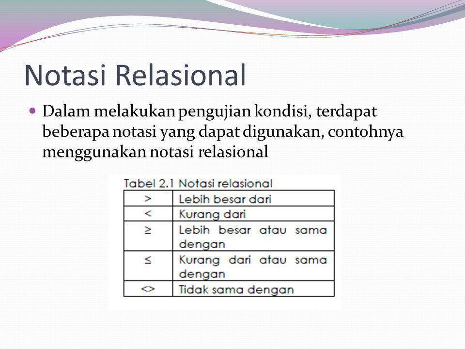 Notasi Relasional Dalam melakukan pengujian kondisi, terdapat beberapa notasi yang dapat digunakan, contohnya menggunakan notasi relasional.