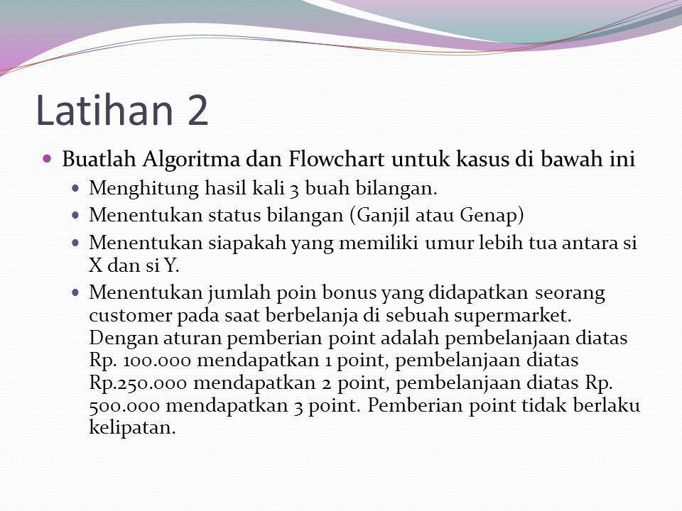 Latihan 2 Buatlah Algoritma dan Flowchart untuk kasus di bawah ini