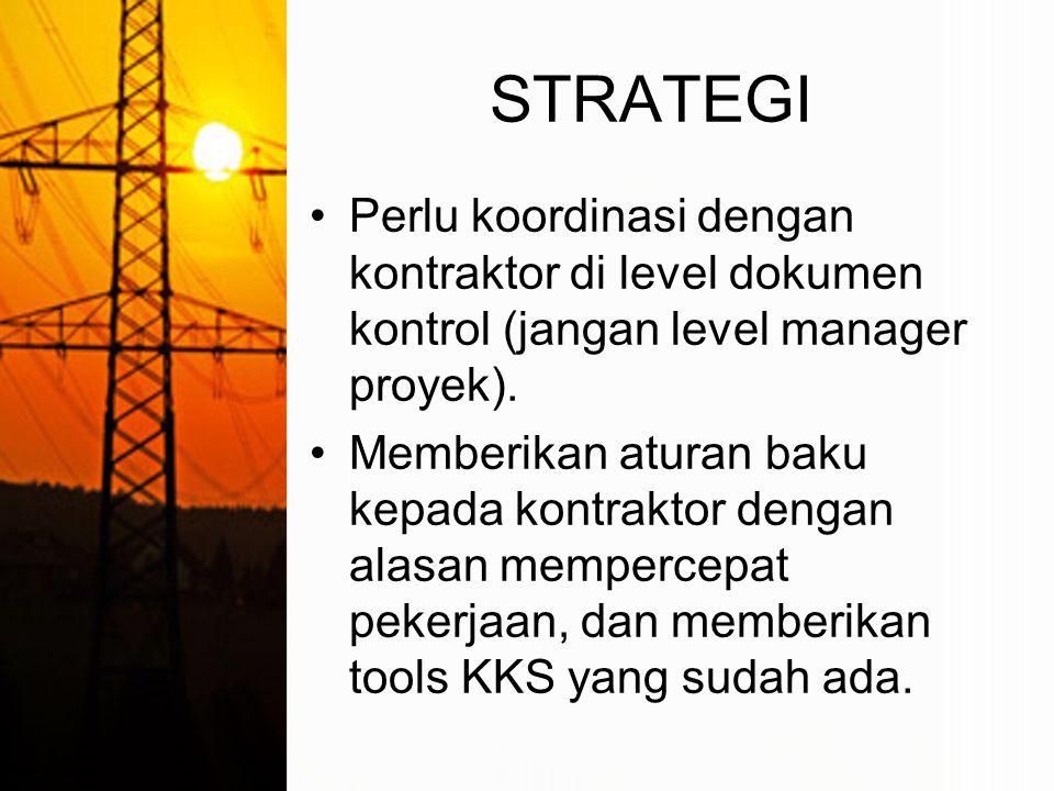 STRATEGI Perlu koordinasi dengan kontraktor di level dokumen kontrol (jangan level manager proyek).