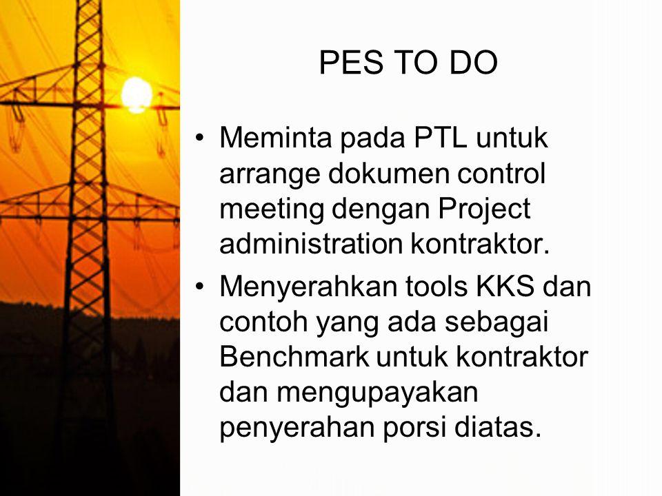 PES TO DO Meminta pada PTL untuk arrange dokumen control meeting dengan Project administration kontraktor.