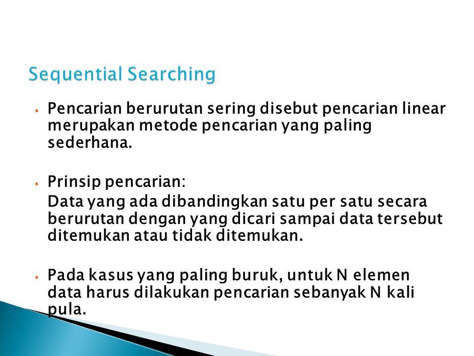 Sequential Searching Pencarian berurutan sering disebut pencarian linear merupakan metode pencarian yang paling sederhana.