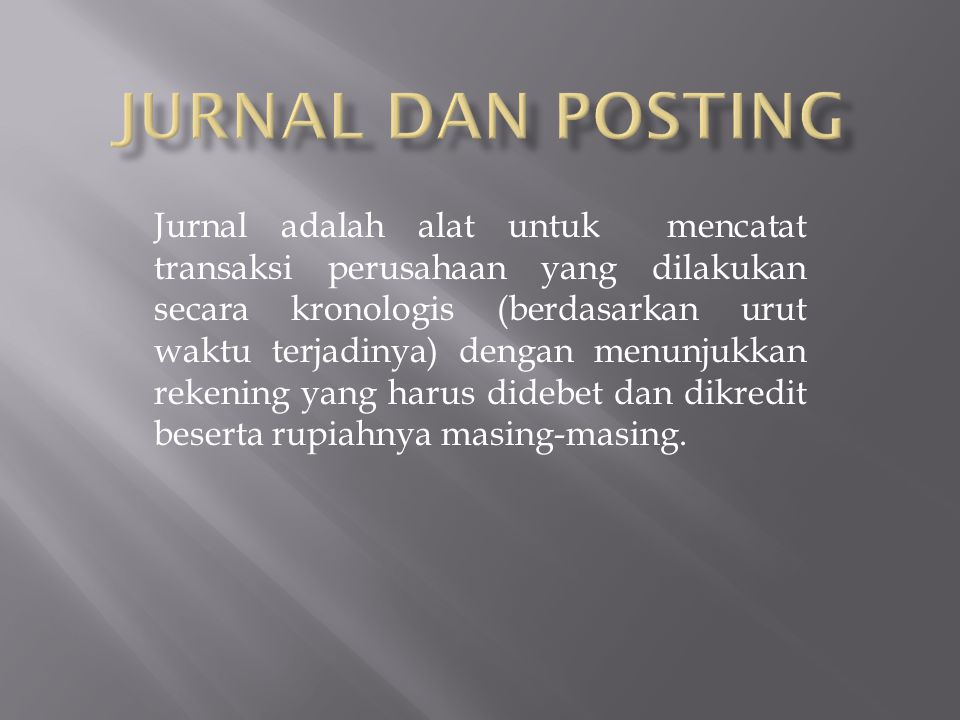JURNAL DAN POSTING