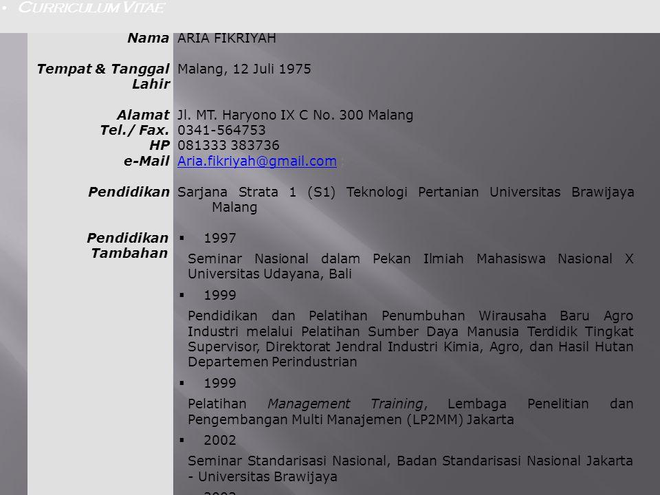 CURRICULUM VITAE Nama. ARIA FIKRIYAH. Tempat & Tanggal Lahir. Malang, 12 Juli 1975. Alamat. Tel./ Fax.