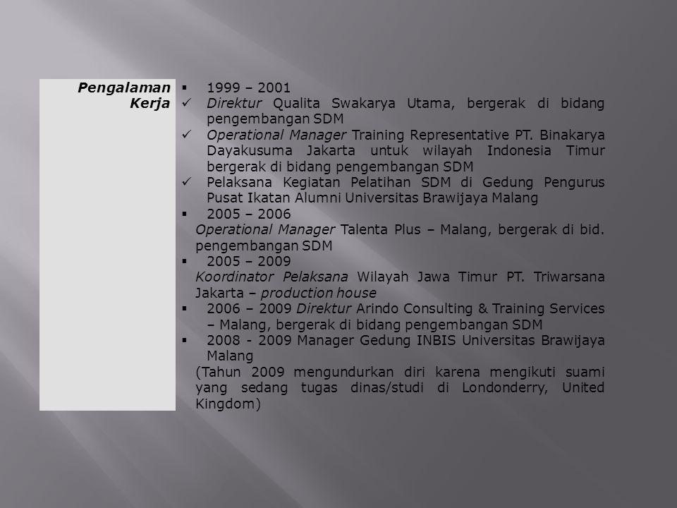 Pengalaman Kerja 1999 – 2001. Direktur Qualita Swakarya Utama, bergerak di bidang pengembangan SDM.