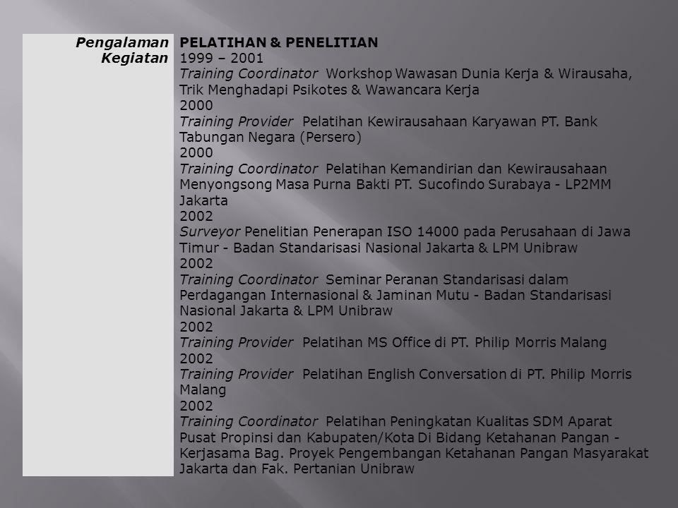Pengalaman Kegiatan PELATIHAN & PENELITIAN. 1999 – 2001.