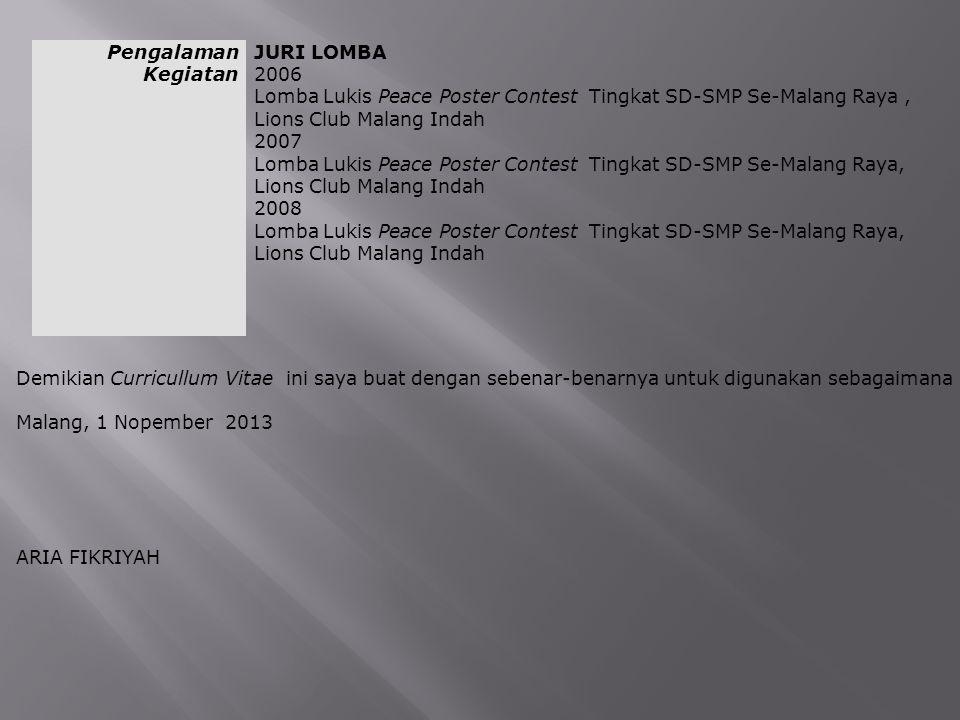 Pengalaman Kegiatan JURI LOMBA. 2006. Lomba Lukis Peace Poster Contest Tingkat SD-SMP Se-Malang Raya , Lions Club Malang Indah.