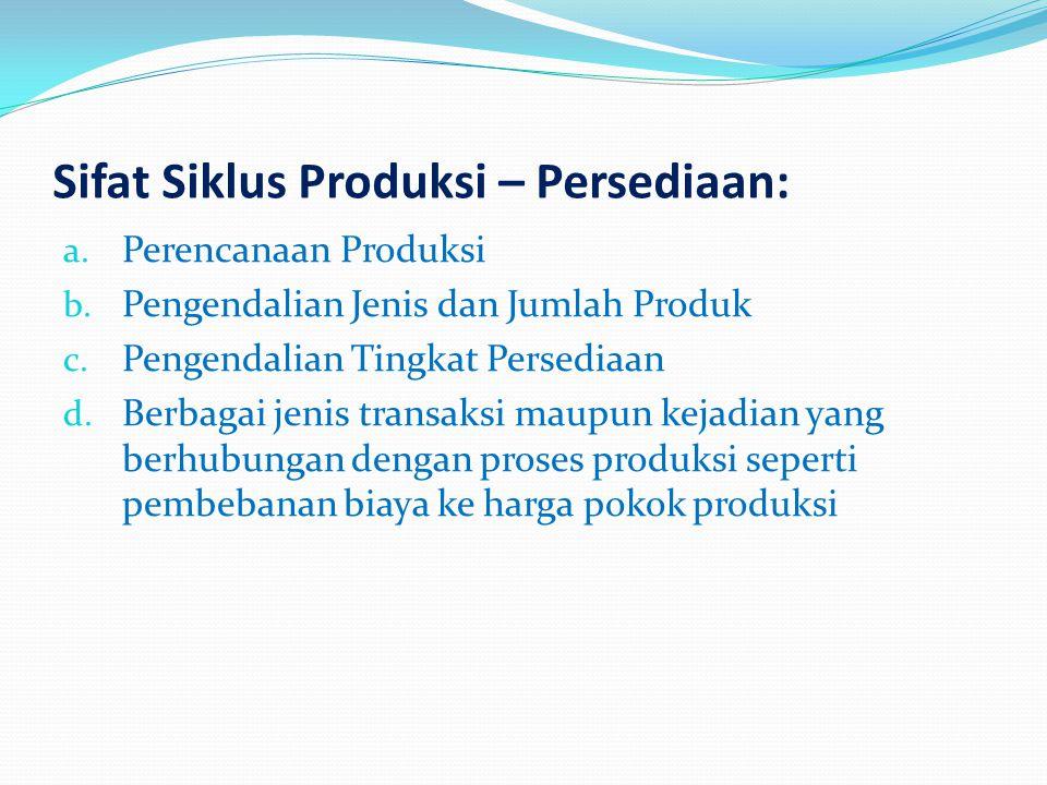 Sifat Siklus Produksi – Persediaan: