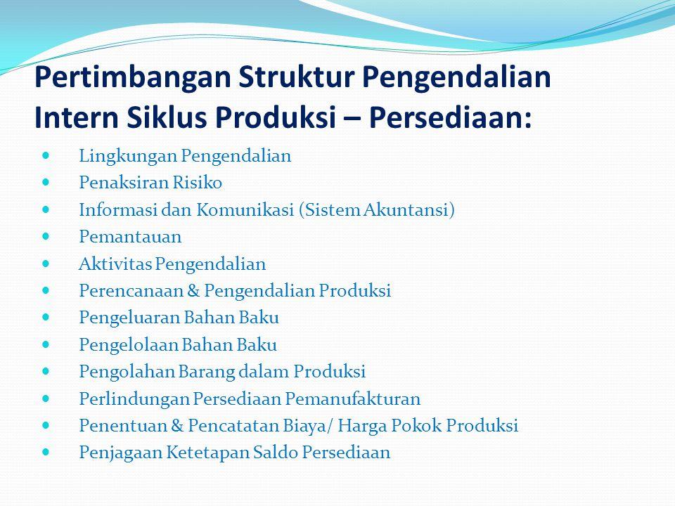 Pertimbangan Struktur Pengendalian Intern Siklus Produksi – Persediaan: