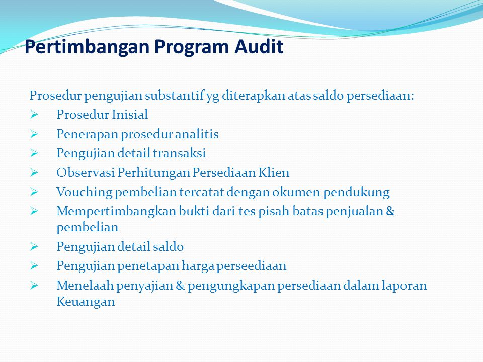 Pertimbangan Program Audit
