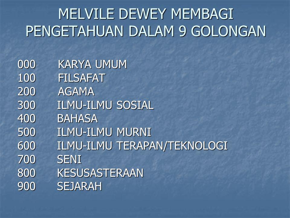 MELVILE DEWEY MEMBAGI PENGETAHUAN DALAM 9 GOLONGAN