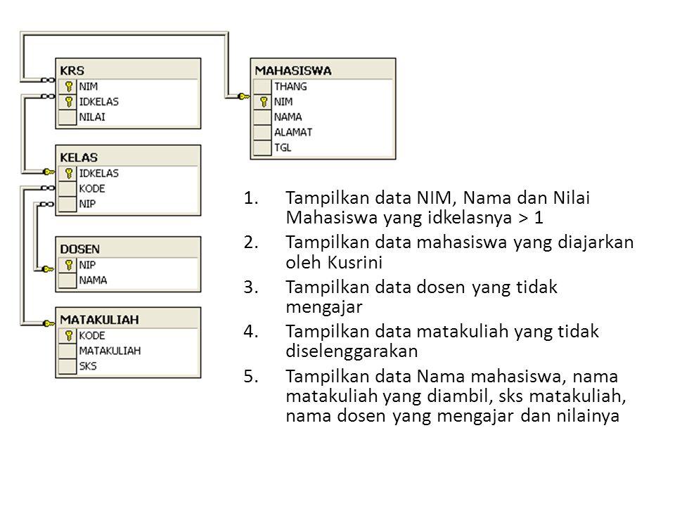 Tampilkan data NIM, Nama dan Nilai Mahasiswa yang idkelasnya > 1