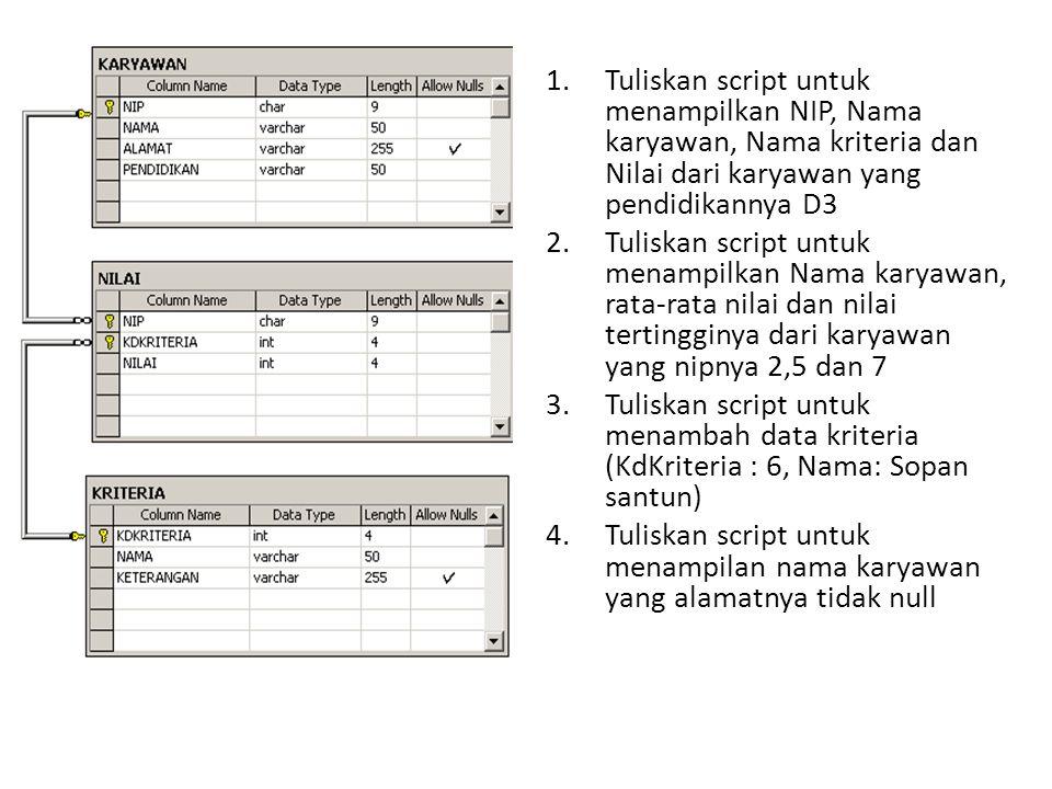 Tuliskan script untuk menampilkan NIP, Nama karyawan, Nama kriteria dan Nilai dari karyawan yang pendidikannya D3