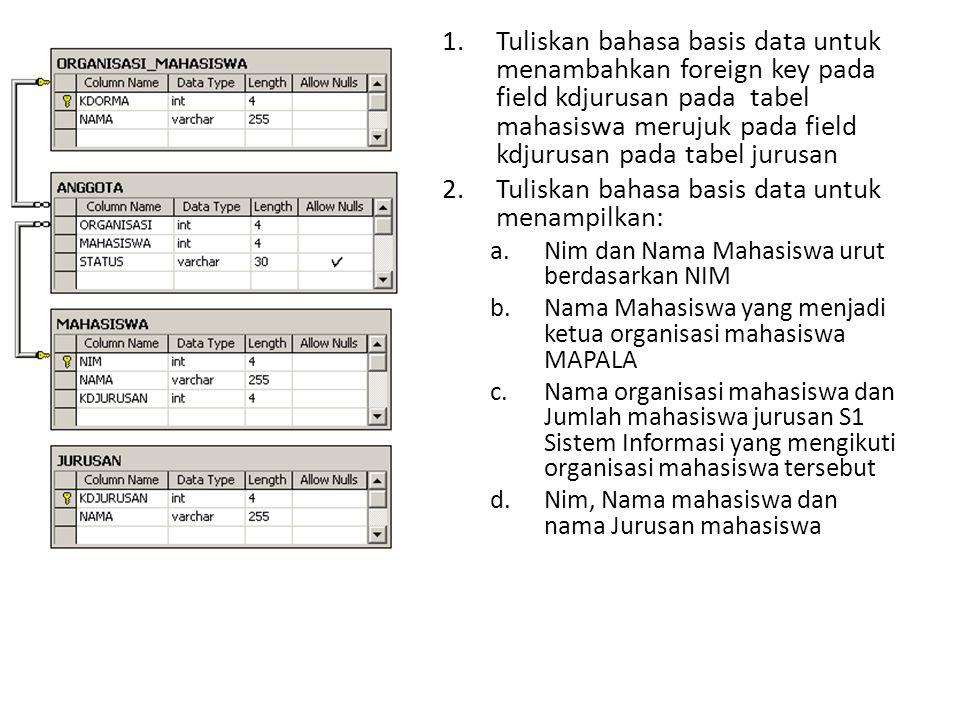 Tuliskan bahasa basis data untuk menampilkan: