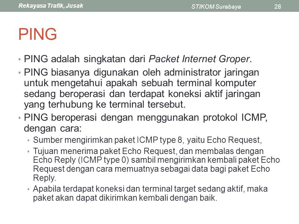 PING PING adalah singkatan dari Packet Internet Groper.