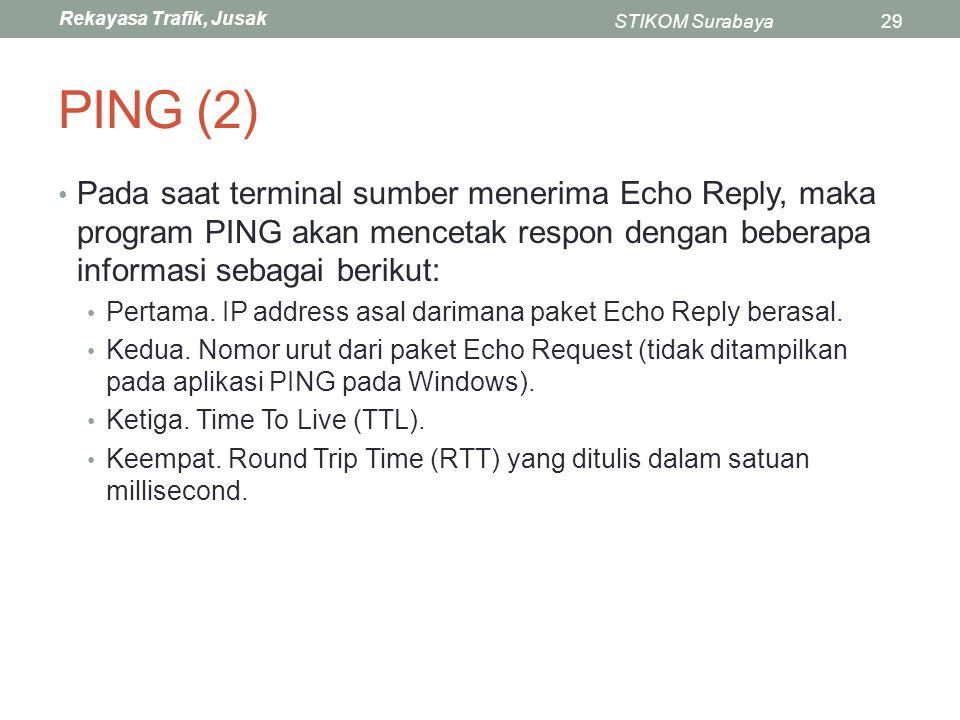 PING (2) Pada saat terminal sumber menerima Echo Reply, maka program PING akan mencetak respon dengan beberapa informasi sebagai berikut: