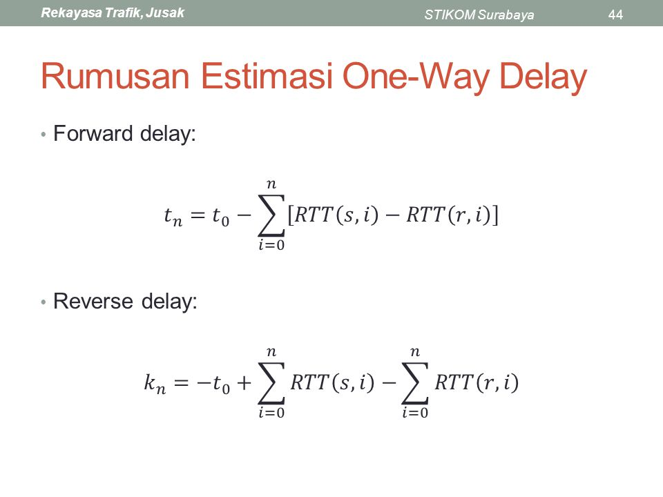 Rumusan Estimasi One-Way Delay