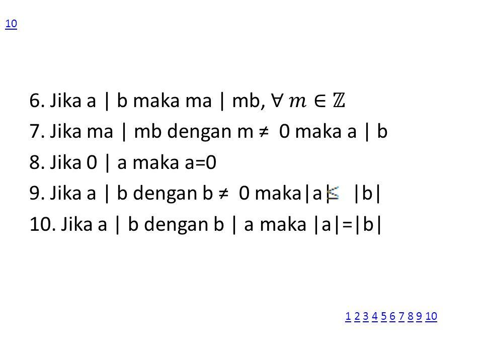 6. Jika a | b maka ma | mb, ∀ 𝑚∈ℤ