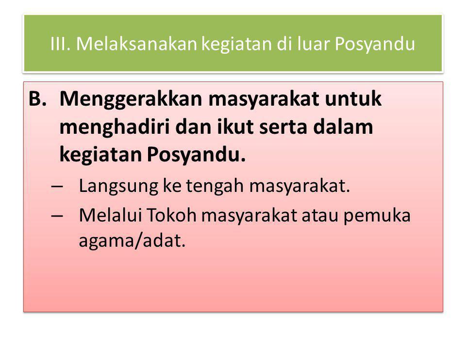 III. Melaksanakan kegiatan di luar Posyandu