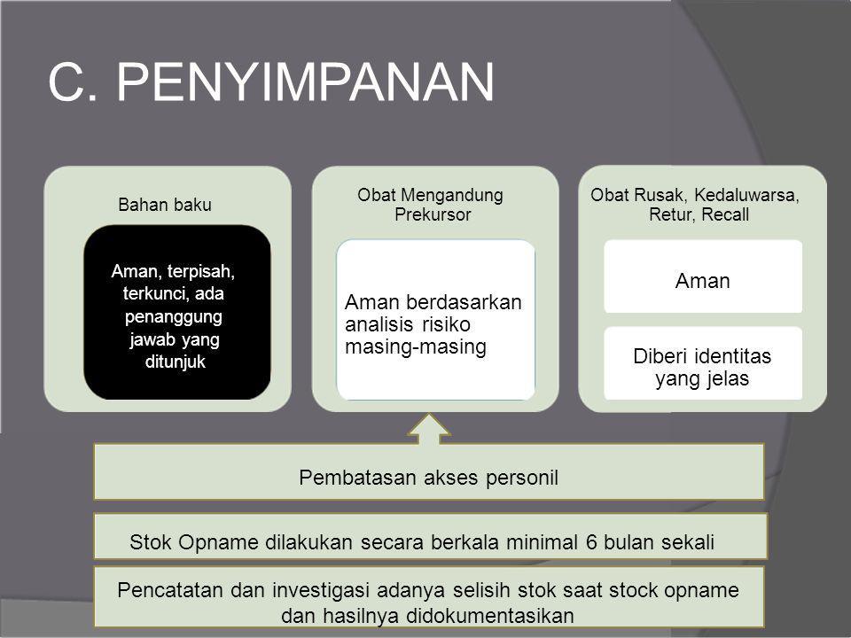 C. PENYIMPANAN Aman Aman berdasarkan analisis risiko masing-masing
