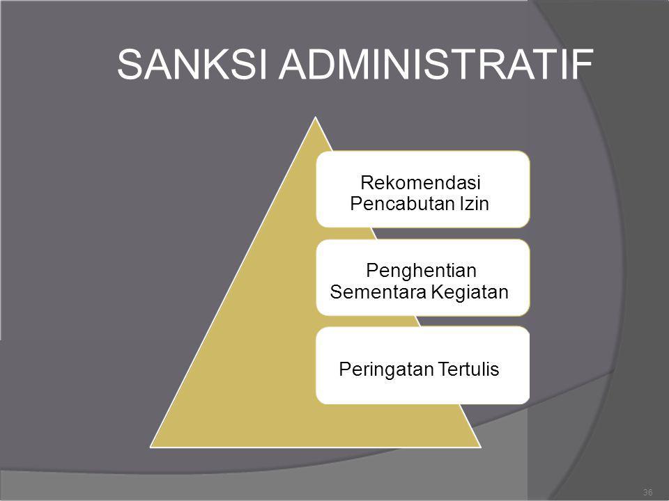 SANKSI ADMINISTRATIF Rekomendasi Pencabutan Izin Penghentian