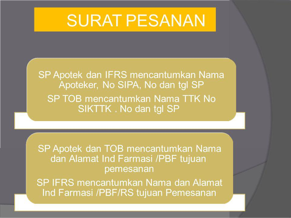 SURAT PESANAN SP Apotek dan IFRS mencantumkan Nama